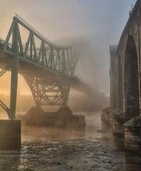 Misty Mersey (Grains of Rice) Tags: bridge mist fog hdr mersey iphone runcorn rivermersey runcornbridge pseudohdr iphonography snapseed