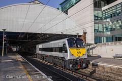 NIR 8209 works LE past Pearse (Eiretrains) Tags: dublin irishrail nir pearse diesellocomotive 201class entepriselivery