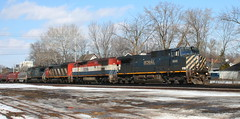 BCOL 4649, 4619, CN 5516, IC 2460, Adams, Neenah, 7 Mar 15 (kkaf) Tags: neenah l528 zebra coveredwagon bluebird bcol adams