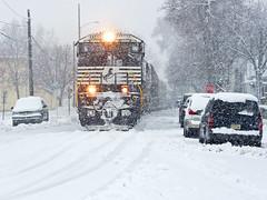 NS 9238, NS Marion District, Warsaw, Indiana (monon738) Tags: railroad snow train pentax ns engine indiana railway locomotive ge unit freighttrain norfolksouthern railfanning dash944cw diesellocomotive dash9 streetrunning c449w 944cw warsawindiana kosciuskocounty gec449w smcpda50135mmf28edifsdm ns19k ns9238 nsmariondistrict k5iis nsmarionbranch