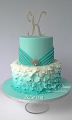 Petal ruffles for Kara (Cake Diane Custom Cake Studio (eyedewcakes)) Tags: birthday cake aqua girly feminine brooch peony ombre petal bling pleats fondant tiered ruching