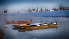 Cold winter morning (malioli) Tags: winter snow cold water canon river photography boat frozen photo europe frost riverside image pics picture croatia riverboat woodenboat fishingboat hdr kupa cro hrvatska coldness winterscene karlovac