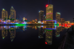 Lights on Tampa Symmetry (Photomatt28) Tags: reflection skyline tampa effects florida beercan processing nik hdr element hillsboroughriver photomatix lightsontampa skypoint sykesbuilding rivergatebuilding