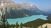Peyto Lake from Bow Summit (karma (Karen)) Tags: trees canada mountains topf25 haze smoke lakes pines alberta 4summer peytolake canadianrockies banffnp bowsummit cmwdgreen cmwdblue canadanationalparks icefieldspkwy