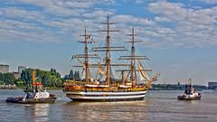 Antwerp.     Amerigo Vespucci. (rikvandenhende) Tags: ship antwerp schelde tugs magnificent amerigovespucci driemaster sleepboten impressivecompo