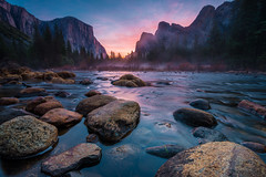 Yosemite Valley and Merced at Sunrise (absencesix) Tags: california morning travel pink blue trees red orange plants mist nature water colors weather fog sunrise river march rocks solitude purple unitedstates peaceful noflash granite northamerica daytime yosemitenationalpark portfolio elcapitan solitary pinetrees locations yosemitevalley mercedriver locale 2014 softwater manualmode mariposacounty 14mm iso50 northsidedrive timeofday 500px 1424mmf28 objectsthings hasmetastyletag hascameratype naturallocale adjectivesfeelingdescription haslenstype afsnikkor1424mmf28g selfrating5stars 20secatf11 subjectdistanceunknown nikond800e 2014travel march32014 californiatour221210403092014pointreyesyosemitemonolakedeathvalleymonterey 37°431n119°3942w mariposacountycaliforniaunitedstates