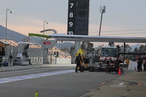 Action in the pit lane during Formula One Winter Testing 2015