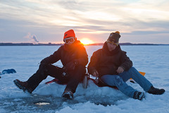 Tom & Christopher (local paparazzi (isthmusportrait.com)) Tags: winter friends sunset portrait people sun lake cold detail men ice students tom scarf outdoors eos prime frozen bottle pod chair aperture frost sitting glare general boots iso400 dr candid seat traditional goggles christopher clarity environmental stranger shades f45 elements portraiture flare uwmadison law chilly madisonwi icy sled frigid icehouse slippery ef drill icefishing thermos 50mmf14 brr subzero sunflare lakemendota sharpness 2015 froze isthmus onthelake nogloves madison365 100strangers danecountywisconsin canon5dmarkii localpaparazzi redskyrocketman lopaps isthmusportrait 608strangers