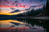 Day's Last Light - Bass Lake, California (Darvin Atkeson) Tags: california sunset lake mountains reflection forest town glow nevada small shoreline sierra resort explore pines shore forks basslake illuminate 2015 darvin darv lynneal yosemitelandscapescom