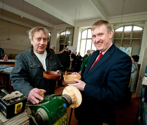 Raymond Corey, Chair of the South Tyrone Men's Shed project pictured with Social Development Minister Mervyn Storey at the launch of South Tyrone Men's Shed project funded by the Department's Neighbourhood Renewal fund