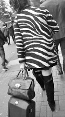 Grafton Street (Owen J Fitzpatrick) Tags: street ireland people bw dublin irish woman white black monochrome beautiful beauty fashion lady female walking pull photography mono j nikon pretty pattern republic graphic boots pavement walk candid coat colleen rear pedestrian funky joe case luggage camo footwear camouflage use attractive zebra only editorial behind owen dslr unposed striking tamron tow dazzle pilot chasing cailin grafton fitzpatrick dazzling fashionable razzle leinster republicofireland thoroughfare ojf chasingpavement 18270mm d3100