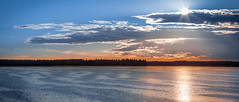 Sunset over Lake Horborga (mpakarlsson) Tags: lake hornborgasjn hornborga water sun sunset evening summer mirror reflection landscape nature pano panorama 135mm 135l 135lf2 5dii 5dm2 5dmark2 5dmarkii skaraborg sweden outdoor birds clouds sky colors
