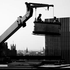 Two Men in Conversation (stevedexteruk) Tags: workmen worker roof building london southwark bankside uk 2016 highrise crane hoist cradle city