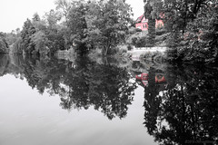 I have a bad bad feeling that my baby don't live here no more (OR_U) Tags: trees red blackandwhite lake water reflections cutout germany landscape redhouse oru jimihendrix selectivecolour 2016 helmstedt badhelmstedt