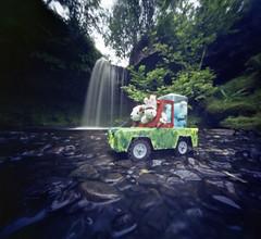 Big E's big splash (wheehamx) Tags: pinhole soft toy adventure biglees waterfall