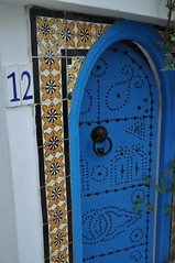 DSC_5084 (TareqD) Tags: doors town old sidi bou said tunis tunisia blue door doorway pattern tiles white numbers arch house home
