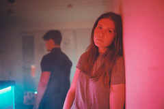 Teenage Heart (Louis Dazy) Tags: 35mm analog film grain lights neon dark red blue girl young youth lost