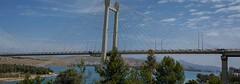 Bridge of Chalkis (kutruvis nick) Tags: greece greek hellas chalkis evripuscanal sea water bridge trees mountains sky clouds architecture nik kutruvis nikon d5100 panoramic view