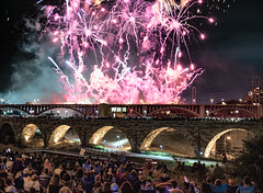 Fireworks over the Stone Arch Bridge (Mac H (media601)) Tags: minneapolis stonearchbridge fireworks explored inexplore explore