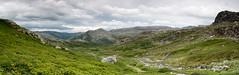 A place to find peace. (Tommy Høyland) Tags: noruega path hike landscape nature mountains outdoor panorama dnt clouds norway backpacking norvegen hiking vista green nobody vibrant turistforeningen grass