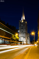 St. Patrick Cathedral Night Long Exposure Light Streaks Dublin Ireland (HunterBliss) Tags: afternoon architectural architecture big blue brick cathedral catholic construction culture dark dublin europe european exposure famous grey headlights historical history icon iconic illuminated ireland long night patrick perspective protestant religion sky st stone streaks street structure tall tourism tourist travel twilight yellow