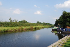 Leeds/Liverpool canal (Halliwell_Michael ## More off than on this week #) Tags: rileygreenmarina lancashire nikond40x 2016 leedsliverpoolcanal trees boattrip barges barge towpath perspective reflection reflections water landscapes sky blue reflectionslovers