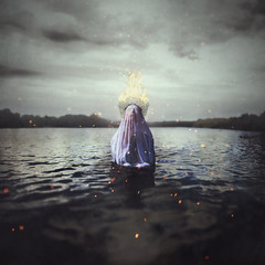 Aestivate (StephaniePearl ) Tags: dark conceptual fantasy lake fire water elemental storm atmosphere mood ghost surreal fineart headpiece shroud obscure