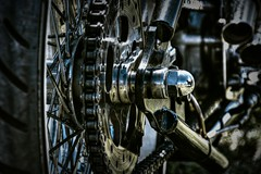 Chain and sprocket. (Steve.T.) Tags: motorcycle motorbike chain sprocket gear roadzsta4 weeley essex bobber chopper chrome nut wheelnut nikon d7200 tyre spokes wheel mechanical mechanics machinery