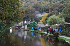 Heading for the pub ...... (Halliwell_Michael ## More off than on this week #) Tags: calderdale westyorkshire nikond40x 2016 rochdalecanal autumn hebdenbridge towpath trees autumncolour reflection reflections perspective barge barges walkers narrowboat landscapes reflectionslovers