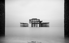 Seperated. (5PR1NK5 Photography  Off The Beaten Track Urban) Tags: brighton west pier sea seascape landscape bw black white mono chrome sussex cost beach minimalistic contrast fine art derelict dilapedated decayed decay forgotten stranded destitute canon photography 5pr1nk5