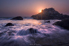 Sunset Tide (abhishek.deopurkar) Tags: sky sea sunset water beach blue coast ocean waves summer evening peaceful seascape tide rays ray colorful dusk flowing pastel delight indianocean landscape canon tokina