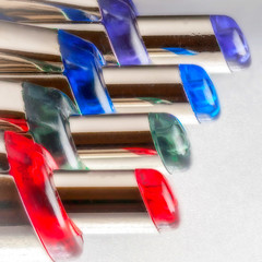 Stacked Ends (lclower19) Tags: zerene macro closeup pens ballpoint red green blue purple stack macromondays penspencilserasersandorpaperclips hmm square
