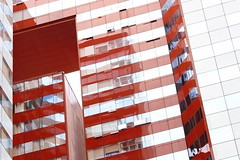 red facade (maotaola) Tags: redfacade windows urbanfragment stripes