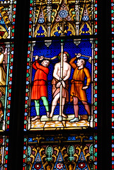 Christ whipped (quinet) Tags: 2014 belgium bruges christ christus glasmalerei stainedglass vitrail antwerp flanders
