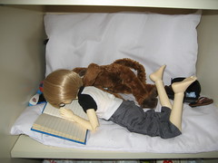 Reading Interrupted 006 (EmpathicMonkey) Tags: bjd bluefairy olive toby happy monkey photo story ball jointed dolls toys