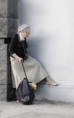 """""""The only journey is the one within."""" - Rainer Maria Rilke (DianaLisa) Tags: california people usa cali women waiting candid citylife streetphotography journey pensive traveling gender elderlywoman travelbag canonpowershots95 atpause"""