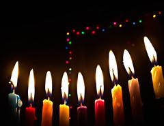 20141223-iPhone1 (cloesner) Tags: fire melting candles bokeh chanukah hanukah flames christmaslights wax hanukkah menorah wicks