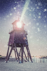 The Groyne Lighthouse, South Shields (solidtext) Tags: red lighthouse snow nightlights tyne nightscene southshields groyne rivertyne lightbeam barrycraig nikond7000
