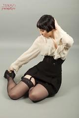 IMG_2684 (Neil Keogh Photography) Tags: white black stockings female highheels gothic skirt blouse heels glam suspenders burlesque laces corsets studioshoot stockingssuspenders modelzoe