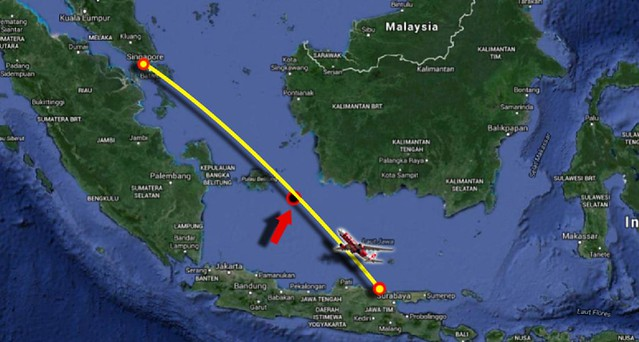 Approximate Location fall of Air Asia flight number QZ 8501  ---  Perkiraan Lokasi Jatuhnya Air Asia dengan Nomor penerbangan QZ 8501