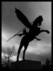 Parachute regiment and airborne forces memorial. (World of Izon) Tags: blackandwhite silhouette pegasus warmemorial parachuteregiment wingedhorse nationalmemorialarboretum