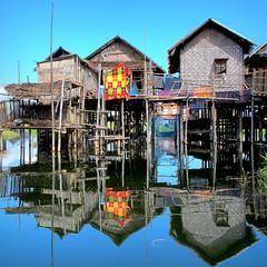 Intha village, Inle Lake, Myanmar (PeterCH51) Tags: houses house lake water reflections square fisherman village fishermen burma squareformat housing myanmar inle stilt intha stilthouse inthavillage peterch51