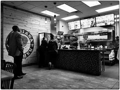 Popeyes, January 11, 2015 (Maggie Osterberg) Tags: bw restaurant blackwhite nebraska fastfood lincoln iphone maggieo 645pro popeyeslouisianakitchen silverefexpro2 iphone6backcamera415mmf22