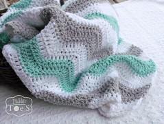Mint Gray Chevron Baby Blanket (the Prairie Cottage) Tags: baby green children ripple crochet gray mint blanket afghan newborn chevron puddintoes
