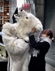 Helping the bear (estherase) Tags: bear print costume strangers stranger polarbear peopleidontknow myfaves