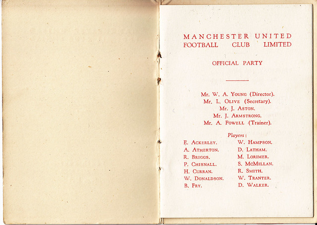 Manchester United F.C. Players Itinerary to Switzerland 1961