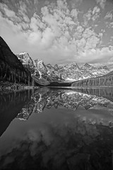 Moraine Lake (ryan.kole32) Tags: travel canada reflection nature monochrome beauty landscape rockies outdoors nationalpark hiking sony alberta banff rockymountains mirrorimage moraine banffnationalpark morainelake canadianrockies banffalberta beautyinnature blacknadwhite sonya77