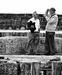 Old Boys (mnika4) Tags: people blackandwhite white black hat stone contrast blackwhite candid streetphotography documentary structure cap elderly elder cobb conversation talking lymeregis desaturate