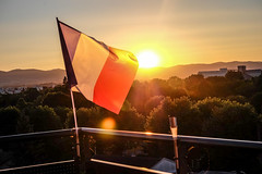14th July (Keinsei2) Tags: sunset sun france french rouge soleil day flag 14 july bleu national fujifilm juillet blanc franais drapeau couch rhone ain rhnealpes xa1 villefranchesursaone jassansriottier