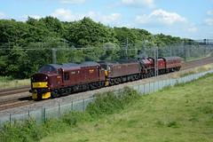 37516, 47760 and 45699 'Galatea' Slindon 14/07/2016 (Brad Joyce 37) Tags: sunshine clouds train diesel maroon engine bluesky steam fields staffordshire convoy locomotives westcoastmainline slindon wcml 45699 wcrc westcoastrail 37516 47760 5z43
